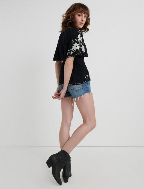 EMBROIDERED SLEEVE TOP, 001 LUCKY BLACK