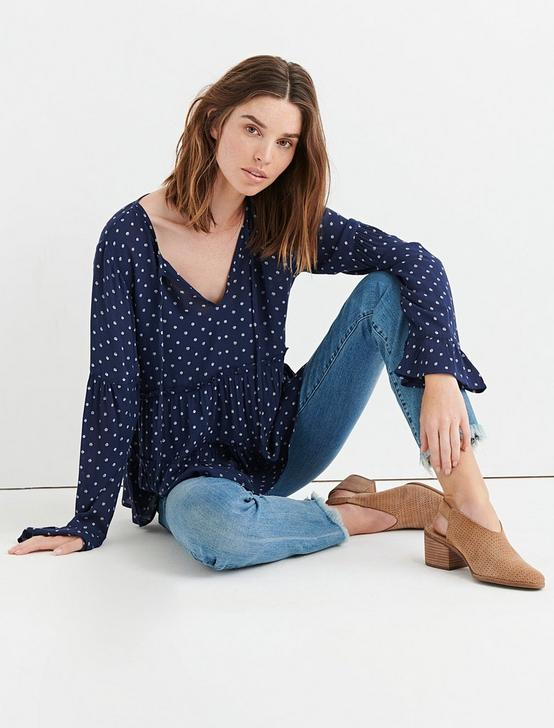 POLKA DOT PEASANT TOP, NAVY MULTI, productTileDesktop