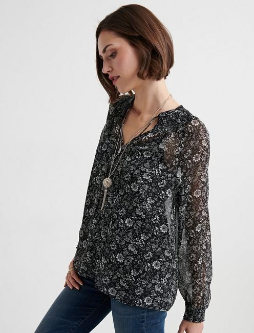 PRINTED PEASANT TOP, BLACK MULTI