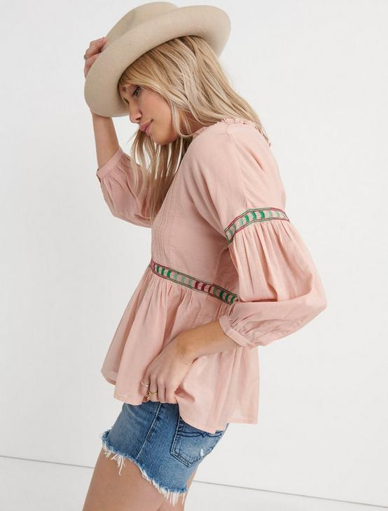 EMBROIDERED PEASANT TOP, PEACH MULTI, productTileDesktop