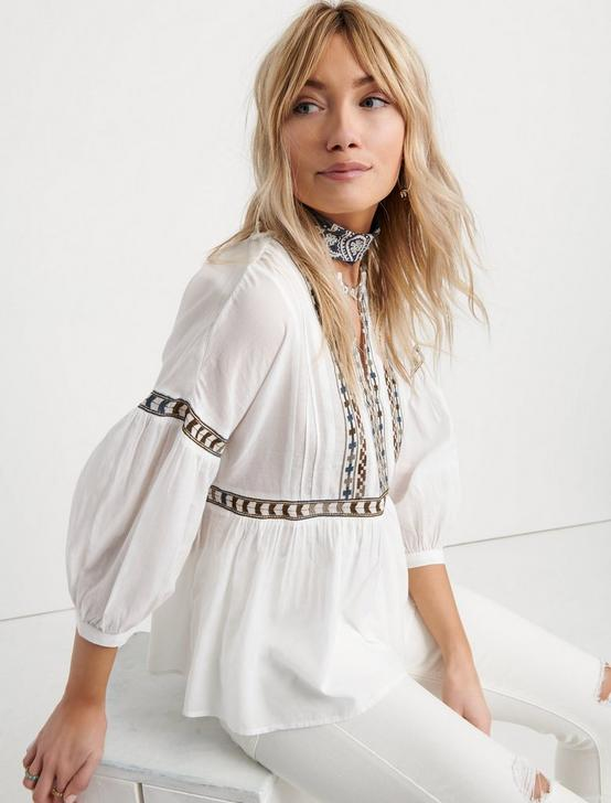 EMBROIDERED PEASANT TOP, WHITE MULTI, productTileDesktop