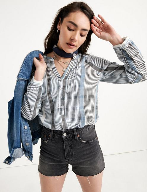 STRIPE GAUZE SHIRT, BLUE MULTI