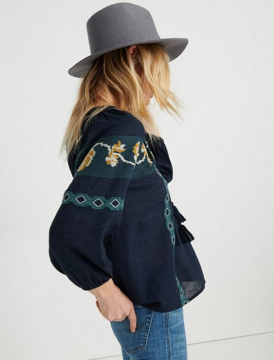 EMBROIDERED PEASANT, NAVY MULTI, productTileDesktop