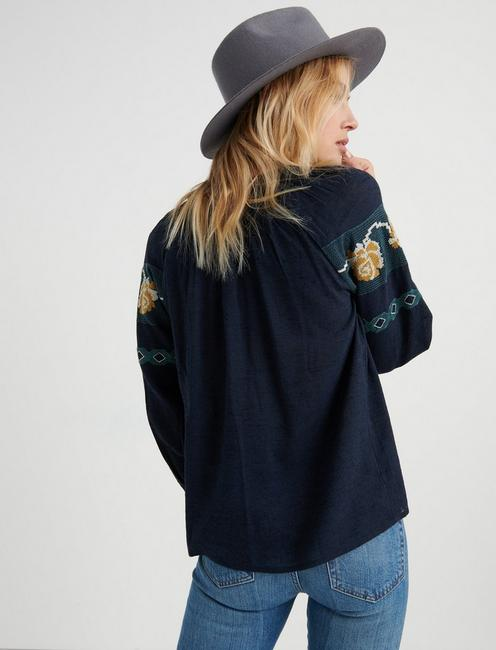 EMBROIDERED PEASANT, NAVY MULTI