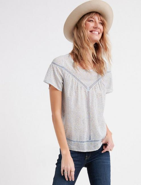 PRINTED INSET LACE YOKE TOP,