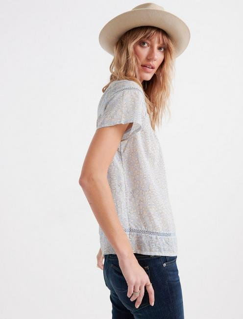 Printed Inset Lace Yoke Top