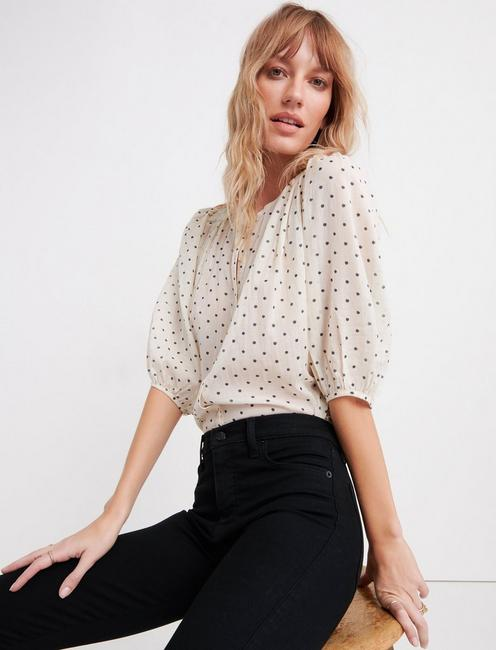 POLKA DOT BUTTON THROUGH SHIRT,