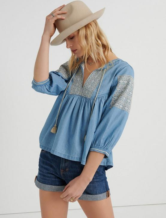 EMBROIDERED PEASANT TOP, LIGHT WASH, productTileDesktop