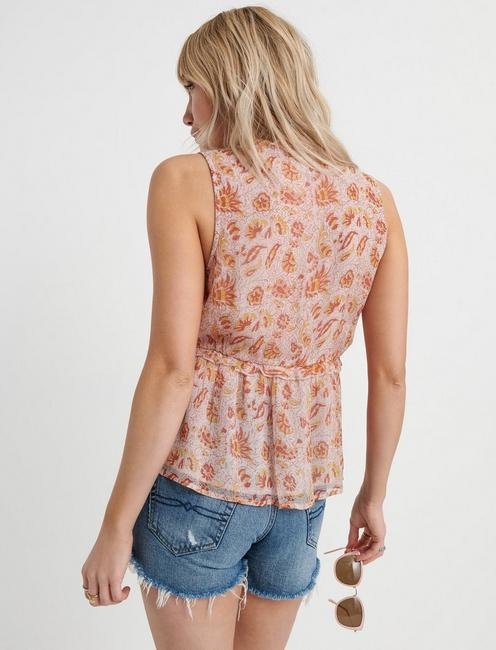 SLEEVELESS ROMANTIC RUFFLE TOP, PINK MULTI