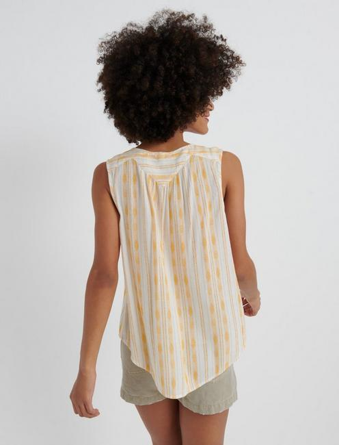 STRIPED SLEEVELESS SHIRT, GOLD MULTI