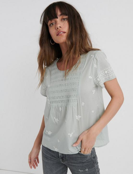 SMOCKED EMBROIDERED TOP, BELGIAN BLOCK, productTileDesktop