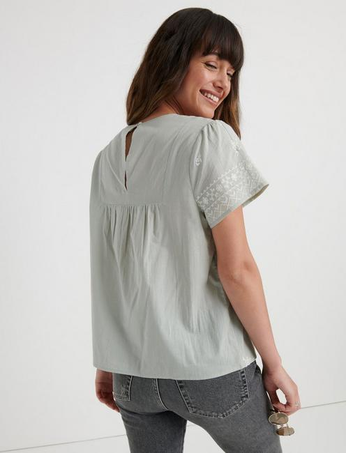 SMOCKED EMBROIDERED TOP, BELGIAN BLOCK