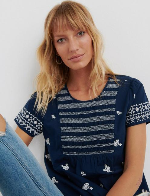 SMOCKED EMBROIDERED TOP, AMERICAN NAVY