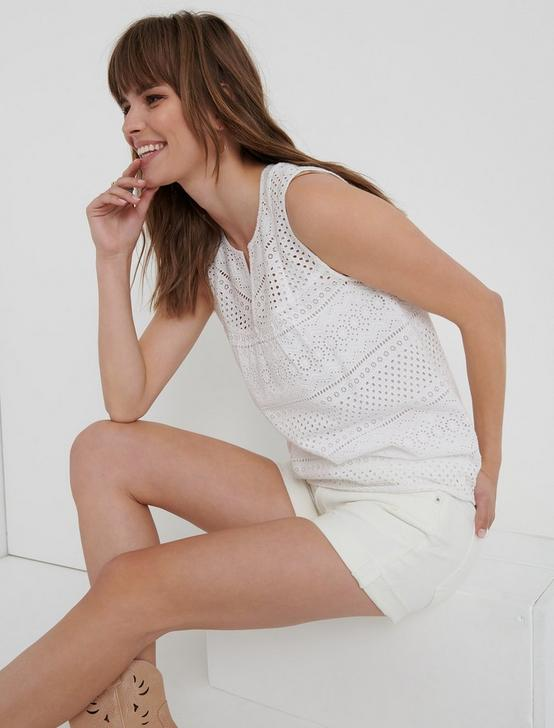 EYELET TANK TOP, LUCKY WHITE, productTileDesktop