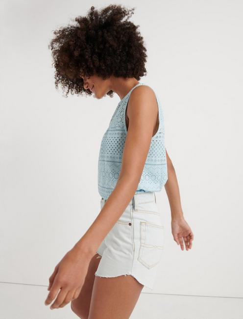 EYELET TANK TOP, CRYSTAL BLUE