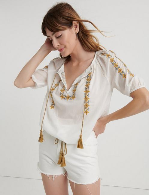 EMBROIDERED KELLY PEASANT TOP,