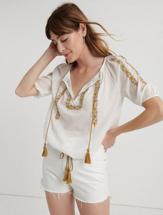 EMBROIDERED KELLY PEASANT TOP, MARSHMALLOW, productTileDesktop