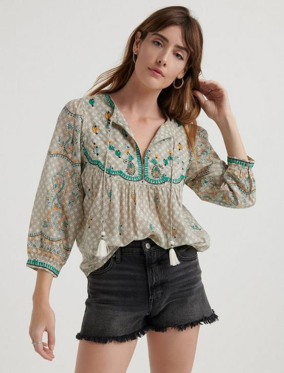 EVELYN EMBROIDERED PEASANT TOP, MULTI, productTileDesktop
