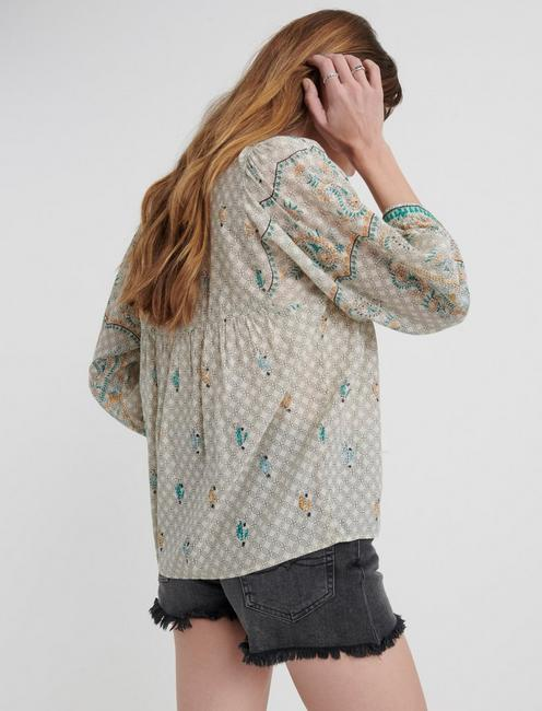 EVELYN EMBROIDERED PEASANT TOP, MULTI