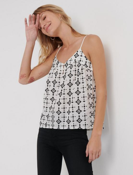 GEO EMBROIDERED TANK, MARSHMALLOW, productTileDesktop