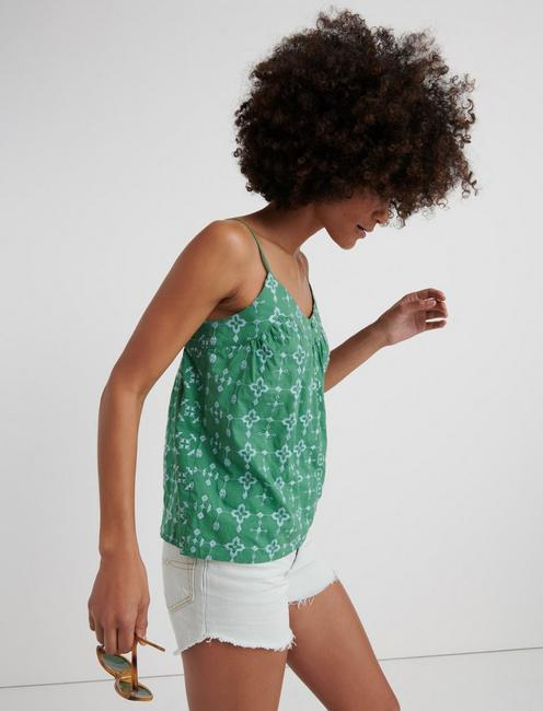 GEO EMBROIDERED TANK, COMFREY