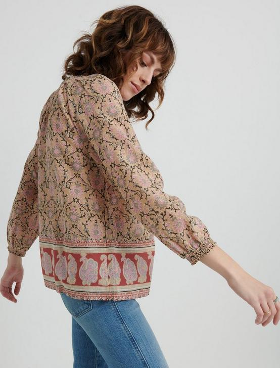 PAISLEY BORDER PRINT PEASANT TOP, PINK MULTI, productTileDesktop