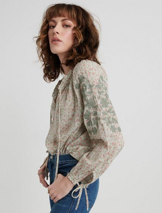 EMBROIDERED PEASANT TOP, GREEN MULTI, productTileDesktop