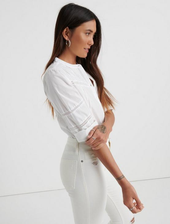 POPLIN PEASANT TOP, LUCKY WHITE, productTileDesktop