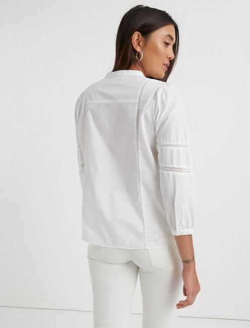 POPLIN PEASANT TOP, LUCKY WHITE