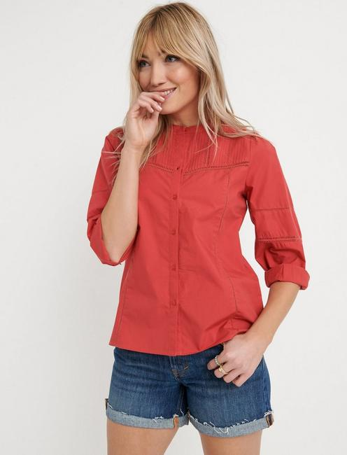 POPLIN PEASANT TOP, CHRYSANTHEMUM