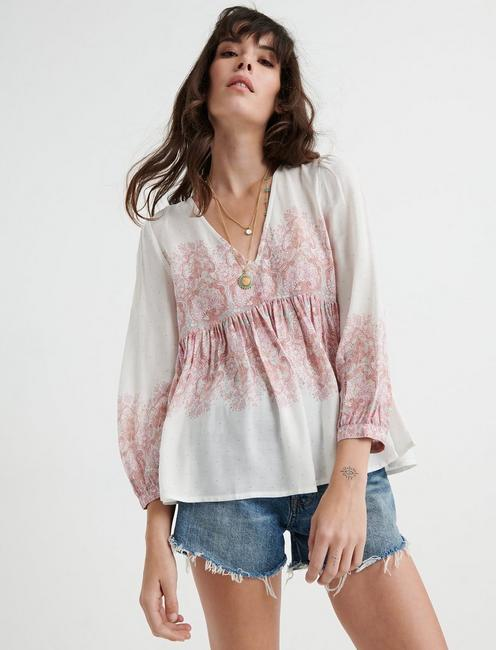 Mixed Paisley Print Top