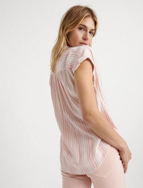 SHORT SLEEVE STRIPE SHIRT, CORAL MULTI