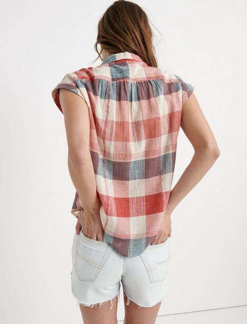 PLAID SHORT SLEEVE SHIRT, RED MULTI