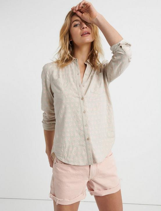 ASHLEY BUTTON DOWN SHIRT, TAN MULTI, productTileDesktop