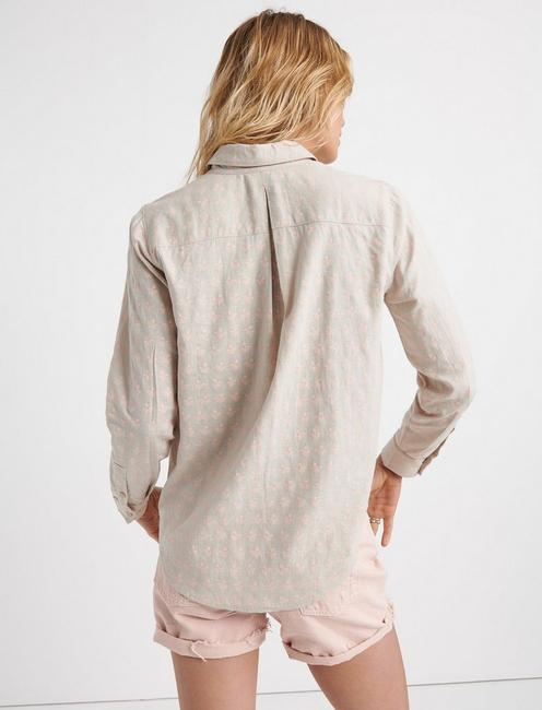 ASHLEY BUTTON DOWN SHIRT, TAN MULTI