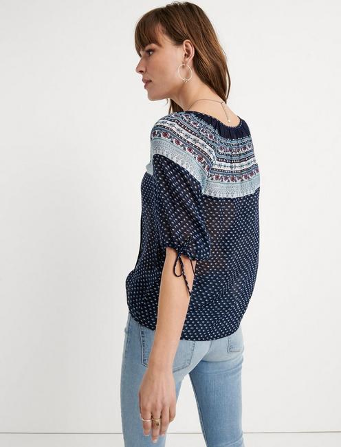 PRINTED PEASANT TOP, NAVY MULTI