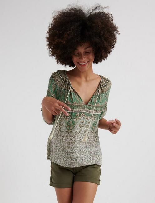Printed Kelly Peasant Top