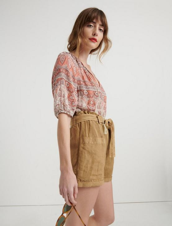 PRINTED KELLY PEASANT TOP, CORAL MULTI, productTileDesktop