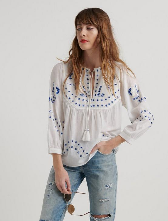 EVELYN EMBROIDERED PEASANT TOP, LUCKY WHITE, productTileDesktop