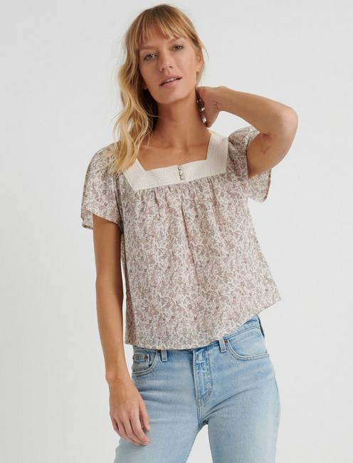 FLORAL SQUARE NECK TOP,