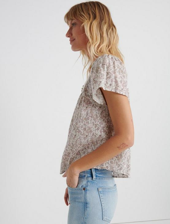 FLORAL SQUARE NECK TOP, NATURAL MULTI, productTileDesktop