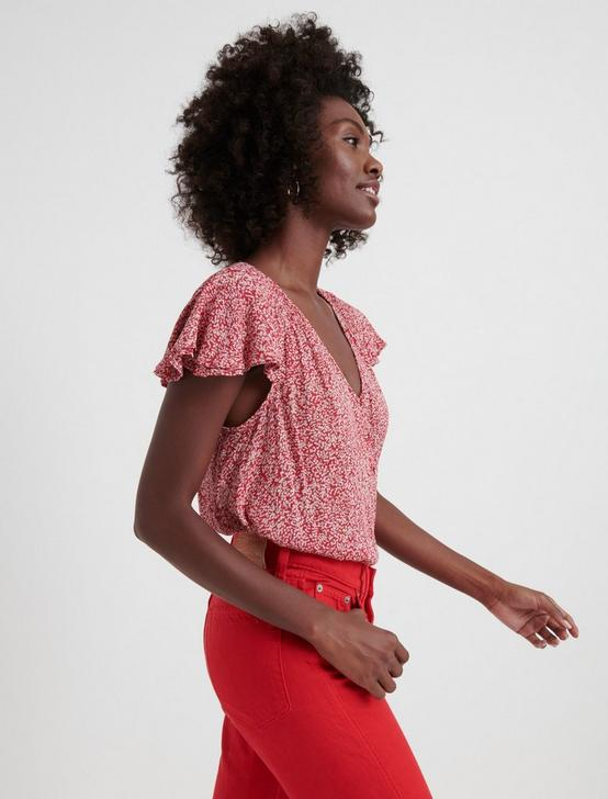PRINTED SMOCKED SHORT SLEEVE TOP, PINK MULTI, productTileDesktop