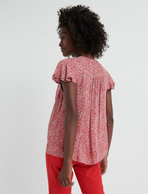 SMOCKED SHORT SLEEVE TOP, PINK MULTI