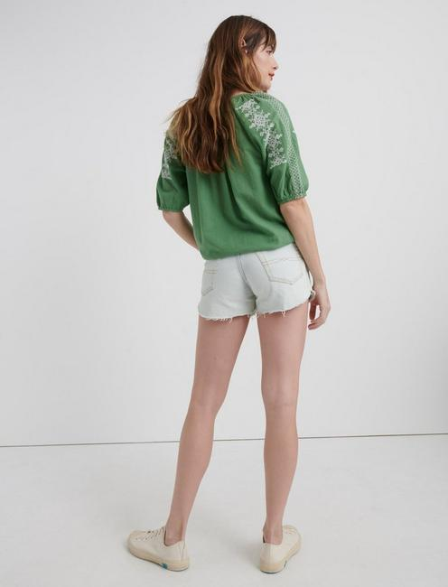 EMBROIDERED KELLY PEASANT TOP, COMFREY