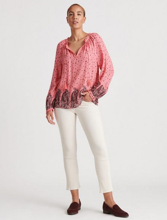 GISELLE RUFFLE PEASANT TOP, PINK MULTI, productTileDesktop