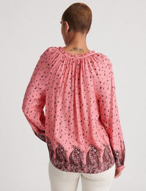 GISELLE RUFFLE PEASANT TOP, PINK MULTI