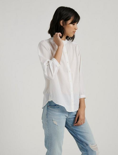 ARIANA RUFFLE NECK TOP, LUCKY WHITE