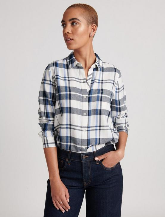 CLASSIC ONE POCKET PLAID SHIRT, NAVY MULTI, productTileDesktop