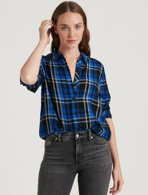 CLASSIC ONE POCKET PLAID SHIRT, COBALT MULTI