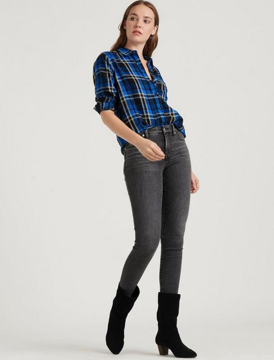 CLASSIC ONE POCKET PLAID SHIRT, COBALT MULTI, productTileDesktop